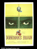 """Movie Posters:Science Fiction, Donovan's Brain (United Artist, 1953). One Sheet (27"""" X 41"""")This science fiction thriller, starring Lew Ayres and a young Na..."""