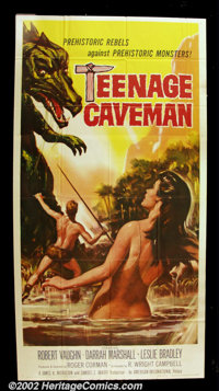 """Teenage Caveman (AIP, 1958). Three Sheet (41"""" X 81""""). Robert Vaughn, who would go on to become television's Th..."""