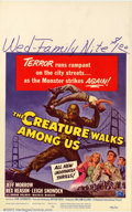 "Movie Posters:Science Fiction, The Creature Walks Among Us, The (Universal 1956) Window Card (14"" X 22"") The famous Universal monster is back in this third..."