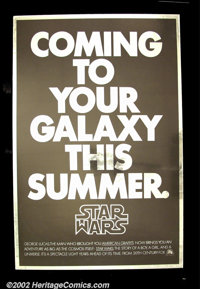 "Star Wars (20th Century Fox 1976) Advance One Sheet (27"" X41"") This is the incredibly rare advance one sheet t..."