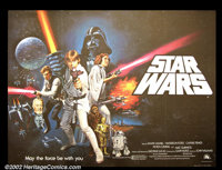 "Star Wars (20th Century Fox 1977) British Quad (30"" X 40"") This wonderful horizontal format poster shows all o..."
