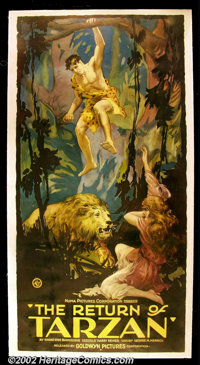 "The Return of Tarzan, (Goldwyn, 1920). Three Sheet(41""X81"") The third Tarzan film was originally called ""..."