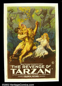 "Revenge of Tarzan, The (Goldwyn, 1920). One Sheet (27""X41"")This gorgeous and dynamic one sheet is from the thi..."