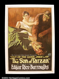 """The Son of Tarzan, Episode 2 """"Out of the Lion's Jaws"""" (National Film, 1921). One Sheet (27""""X 41"""") Be..."""