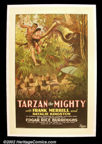 "Tarzan the Mighty (Universal, 1928). One Sheet (27""X 41"") The seventh Tarzan movie starred ex-stuntman Frank M..."