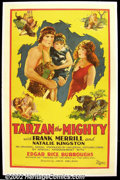 "Movie Posters:Action, Tarzan the Mighty (Universal 1928) One Sheet (27"" X 41""). Frank Merrill , the star of this film was the second runner up for..."
