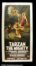 """Movie Posters:Action, Tarzan the Mighty (Universal, 1928). Three Sheet (41""""X81"""") Beautiful large format poster from Chapter 6 """"The Fiery Pit"""". Fin..."""