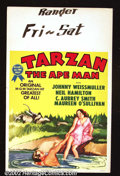 "Movie Posters:Adventure, Tarzan the Ape Man (MGM, R 1954). Window Card (14"" X22"") This was the first Weismuller Tarzan for MGM. Offered here is a rei..."