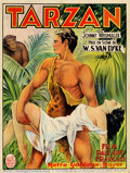 Movie Posters:Action, Tarzan of the Apes (MGM 1932) Belgium. Stone litho artwork for thefirst of the Weismuller MGM Tarzans. Paper for this firs...