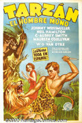 """Movie Posters:Adventure, Tarzan the Ape Man (MGM, 1932). Spanish One Sheet (27""""X41""""). Lovelystone litho from the very first Weismuller Tarzan featur..."""