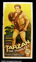 "Movie Posters:Action, Tarzan the Fearless (Principal Distributing, 1933). Three Sheet (41""X 81""). After the huge success of MGM Studio with the We..."