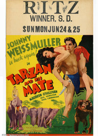"""Tarzan and His Mate (MGM, 1934). Window card (14""""X22"""") This was the second in the MGM/Tarzan series and consid..."""