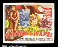 """Tarzan Escapes (MGM R1954) Half Sheet (22""""x 28"""") This entry in the series has Tarzan being captured by a white..."""