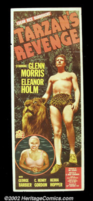 "Tarzan's Revenge ( 20th Century Fox 1938) Insert (14""X36"") Olympic Decathlon star Glenn Morris plays the lead..."
