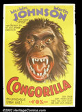 "Movie Posters:Action, Congorilla (1932) Swedish One Sheet (28""X 39"") Martin and Johnson, documentary film-makers in the thirties, produced this fi..."