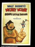 "Movie Posters:Animated, The Brave Little Tailor (RKO, 1938). One Sheet (27"" X 41""). This is a true rarity! By 1938, the majority of cartoons that f..."
