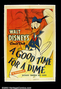 "Good Time For a Dime, A (RKO 1941) One Sheet (27""X 41"") Wonderful WWII era Donald Duck cartoon image. Very Fin..."