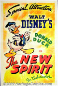 "Movie Posters:Animated, The New Spirit (RKO 1942) One sheet (27""X41""). Donald Duck stars in this World War II era cartoon obviously backing the cou..."