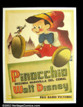 "Movie Posters:Animated, Pinocchio (RKO 1940) French Affiche. The pinnacle of Disney'sfeature animation was achieved with ""Pinocchio"". Avila Sigler..."