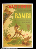 Movie Posters:Animated, Bambi (RKO 1942) French Affiche. Disney's famous and popularanimated feature was given a less than average poster campaign ...