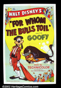 "Movie Posters:Animated, For Whom the Bulls Toil (RKO 1953) One Sheet (27""X 41"") Goofy, in amix up of identities is confused for a great Matador and..."