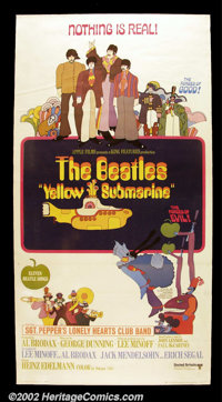 """Yellow Submarine (United Artists, 1968). Three Sheet (41"""" X 81""""). The Beatles take on the evil blue meanies in..."""