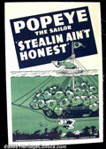 """Movie Posters:Animated, Popeye - Stealin Ain't Honest (Paramount 1940) One Sheet (27""""X41"""")This rare one sheet was one of the last duo-tone one shee..."""