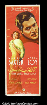 """Broadway Bill (Columbia 1934) Insert (14""""X 36"""") Frank Capra directed this charming tale of a man who risks all..."""