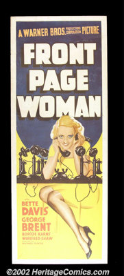 """Front Page Woman (Warner Brothers, 1935). Insert (14""""X36"""") Some of the best posters created by Warner's art de..."""