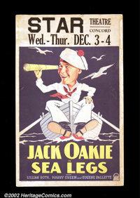 "Sea Legs (Paramount, 1930). Window Card (14""X22"") Wonderful caricature image of a young Jack Oakie in the role..."