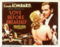 "Movie Posters:Comedy, Love Before Breakfast (Universal 1936) Half Sheet (22"" X28"").Carole Lombard carved her own niche in cinema history as a scr..."