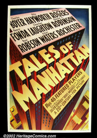 "Tales of Manhattan (20th Century Fox, 1942). One Sheet (27"" X 41"") Wonderful stylized graphics on this stone l..."
