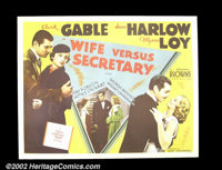 """Wife vs. Secretary (MGM 196) Half Sheet (22X 28""""). Legendary comedienne Jean Harlow is paired with her favorite lea..."""