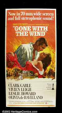 "Gone With the Wind (MGM, 1967 reissue). Three Sheet (41"" X 81"") Clark Gable and Vivien Leigh are locked in the..."