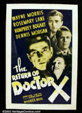 "Movie Posters:Horror, The Return Of Dr. X (Warner Brothers 1939). One Sheet (27""X41"")This Warner Brothers attempt at a horror/sci-fi yarn is fun t..."