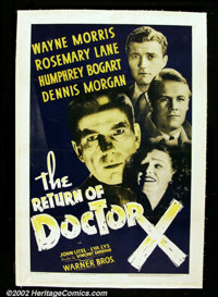 """The Return Of Dr. X (Warner Brothers 1939). One Sheet (27""""X41"""")This Warner Brothers attempt at a horror/sci-fi..."""