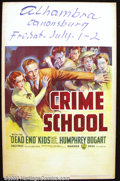 "Movie Posters:Crime, Crime School (Warner Brothers 1938). Window Card (14"" X 22"") Bogarts the good guy in this story of his efforts to reform the..."