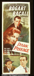 "Dark Passage (Warner Brothers, 1947). Insert (14""X36"") This wonderful teaming of Humphrey Bogart and Lauren Ba..."