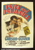 """Movie Posters:Drama, Pride and Prejudice (MGM 1939) One Sheet (27"""" X 41""""). MGM's opulent adaptation of Jane Austen's novel featured one of their ..."""