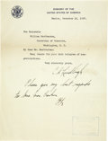 Autographs:Celebrities, Charles A. Lindbergh Autograph Letter Signed Twice With aHolographic Postscript....