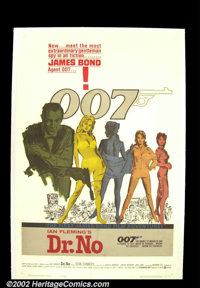 "Dr. No (United Artists 1962) One Sheet (27""X41"") ""The name is Bond, James Bond."" With that immortal..."