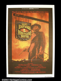 "High Plains Drifter (Universal, 1974). One Sheet (27""X41"") A dark classic with Clint Eastwood as a mysterious..."