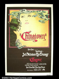 "Chinatown (Paramount 1974) One Sheet (27"" X 41""). Roman Polanski's homage to film noir surpassed most of that..."