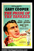 """Movie Posters:Sports, The Pride of the Yankees (RKO, R-1949). One sheet (27""""X41"""").Perhaps the greatest baseball film ever made, this classic sta..."""