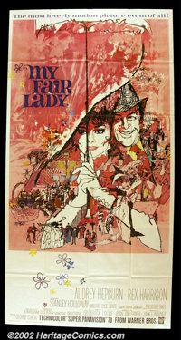 "My Fair Lady (Warner Brothers 1964) Three Sheet (41"" X81""). Audrey Hepburn stars as Eliza Doolittle, a gutters..."