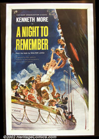 "A Night to Remember (Rank, 1959) One Sheet (27"" X 41""). British ""country of origin"" poster for the e..."