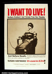 """I Want To Live! (United Artists 1958) Advance One Sheet (27""""X41"""") Robert Wise directed this film based upon th..."""