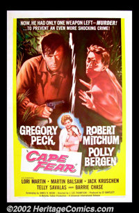 """Cape Fear (Universal, 1962). One Sheet (27"""" X 41"""") A petrifying modern classic with Gregory Peck as a lawyer b..."""
