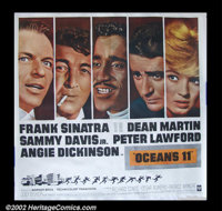 "Ocean's 11 (1960) Six Sheet (81"" X 81""). The Rat Pack is emblazoned across the six sheet for this film. The or..."