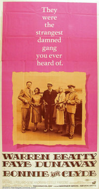 """Bonnie and Clyde (Warner Brothers, 1967) Three-Sheet (41"""" X 81""""). One of the most important pictures of the 19..."""